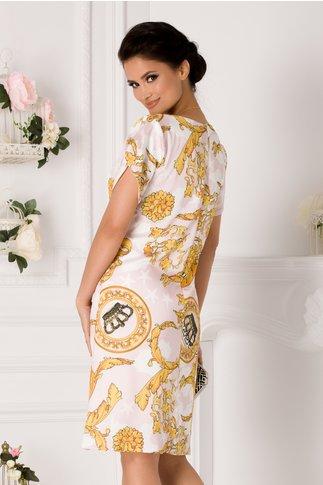 Rochie Nicolle ivoire cu imprimeu galben
