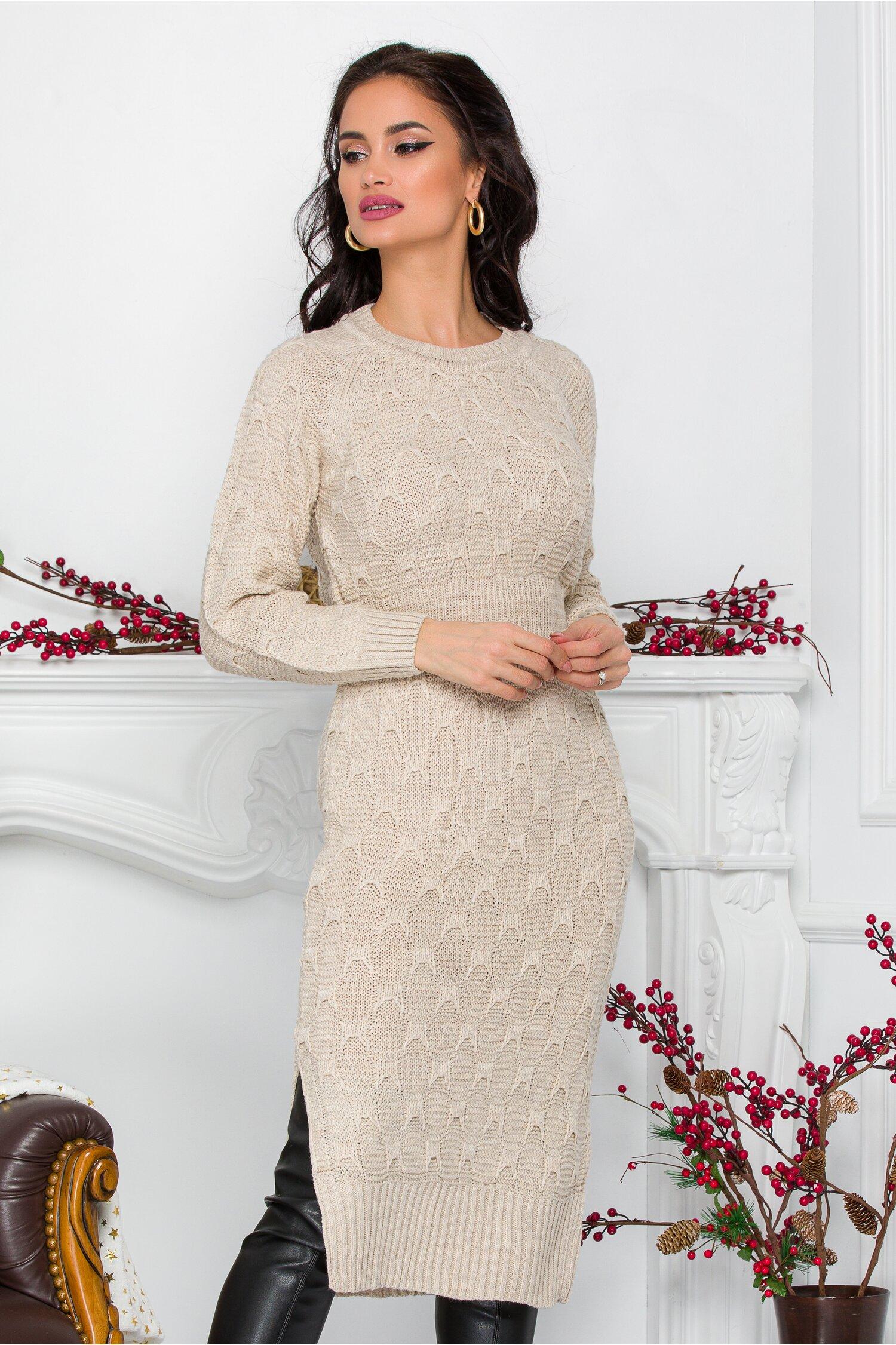 Rochie Nicolle ivory din tricot cu talia marcata