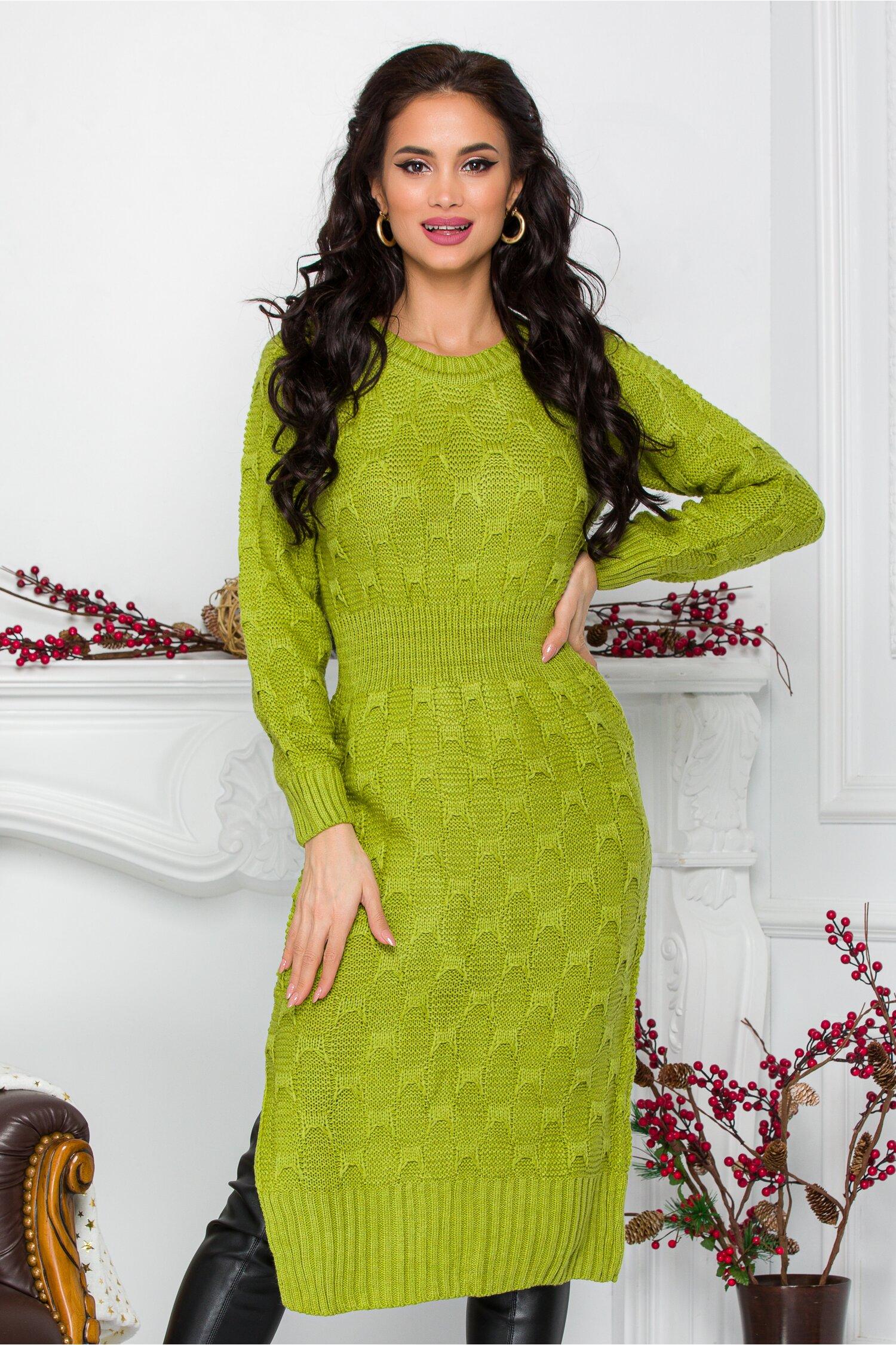 Rochie Nicolle verde lime din tricot cu talia marcata