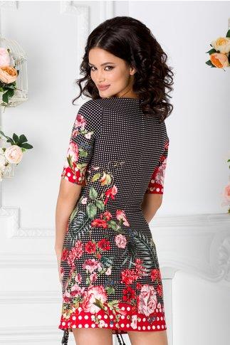 Rochie Niko neagra cu buline si imprimeu floral