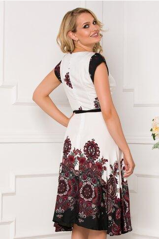 Rochie Nina alba cu imprimeu floral in nuante de visiniu