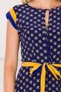 Rochie Nina indigo cu imprimeu floral in nuante de galben si negru