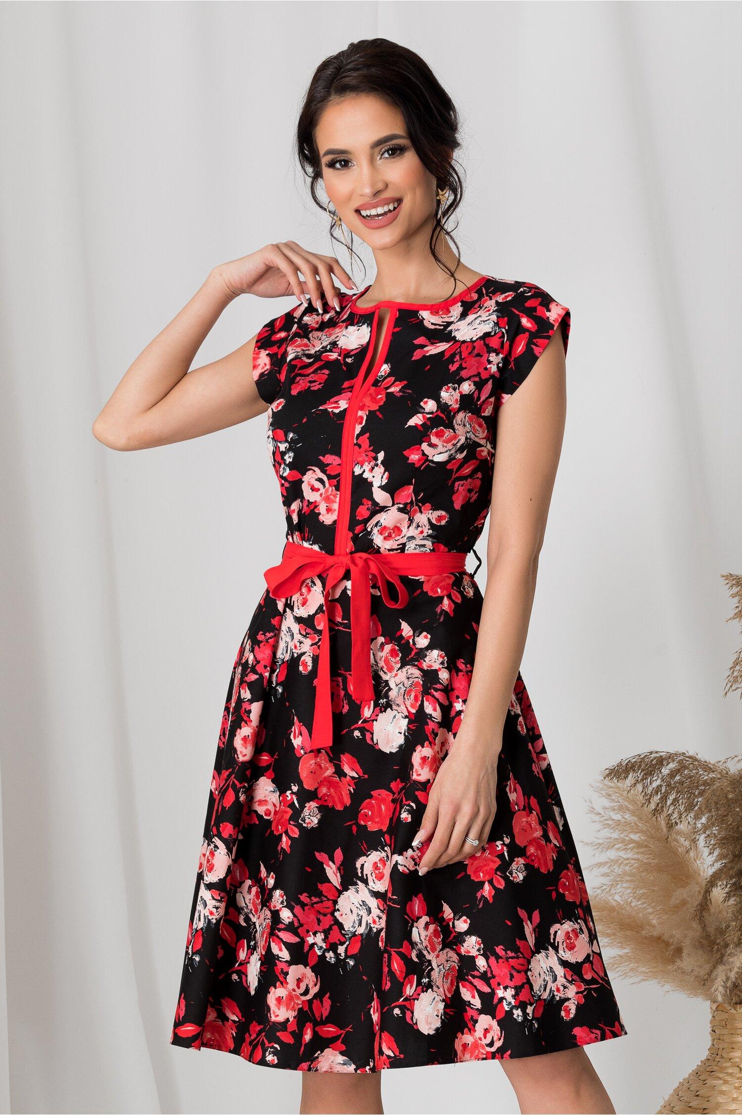 Rochie Nina neagra cu flori corai