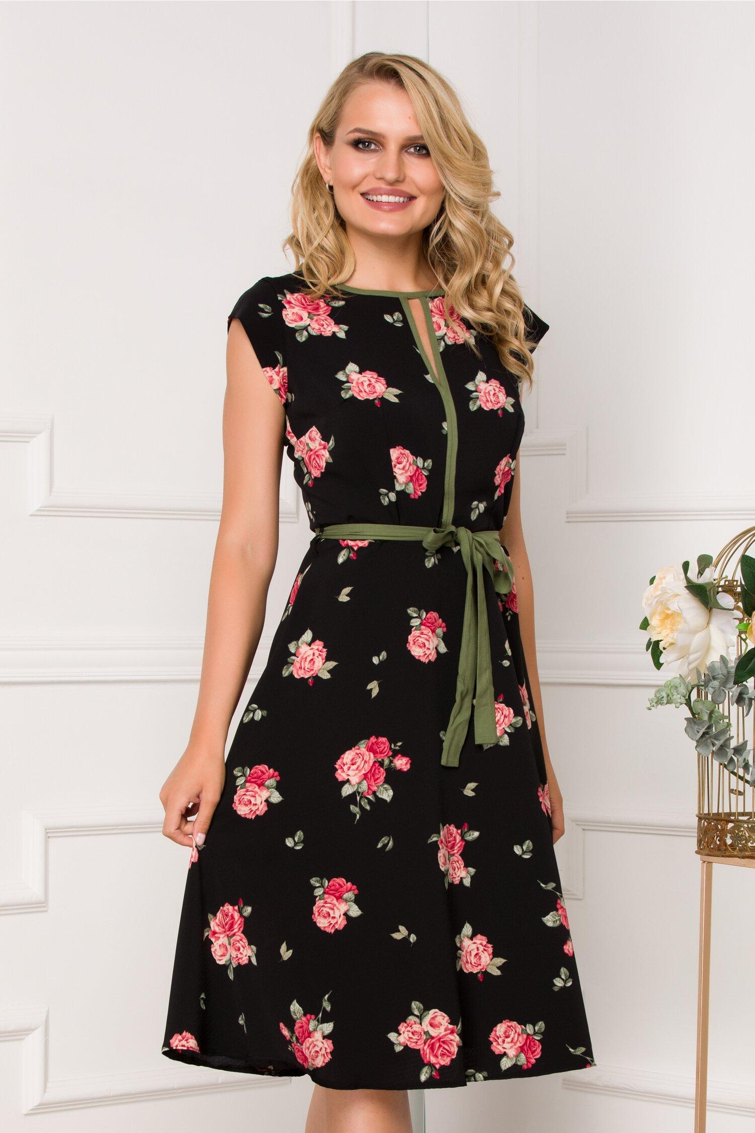 Rochie Nina neagra cu imprimeu floral in nuante de rosu si kaki