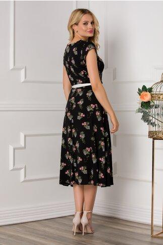 Rochie Nina neagra cu imprimeu floral in nuante de roz
