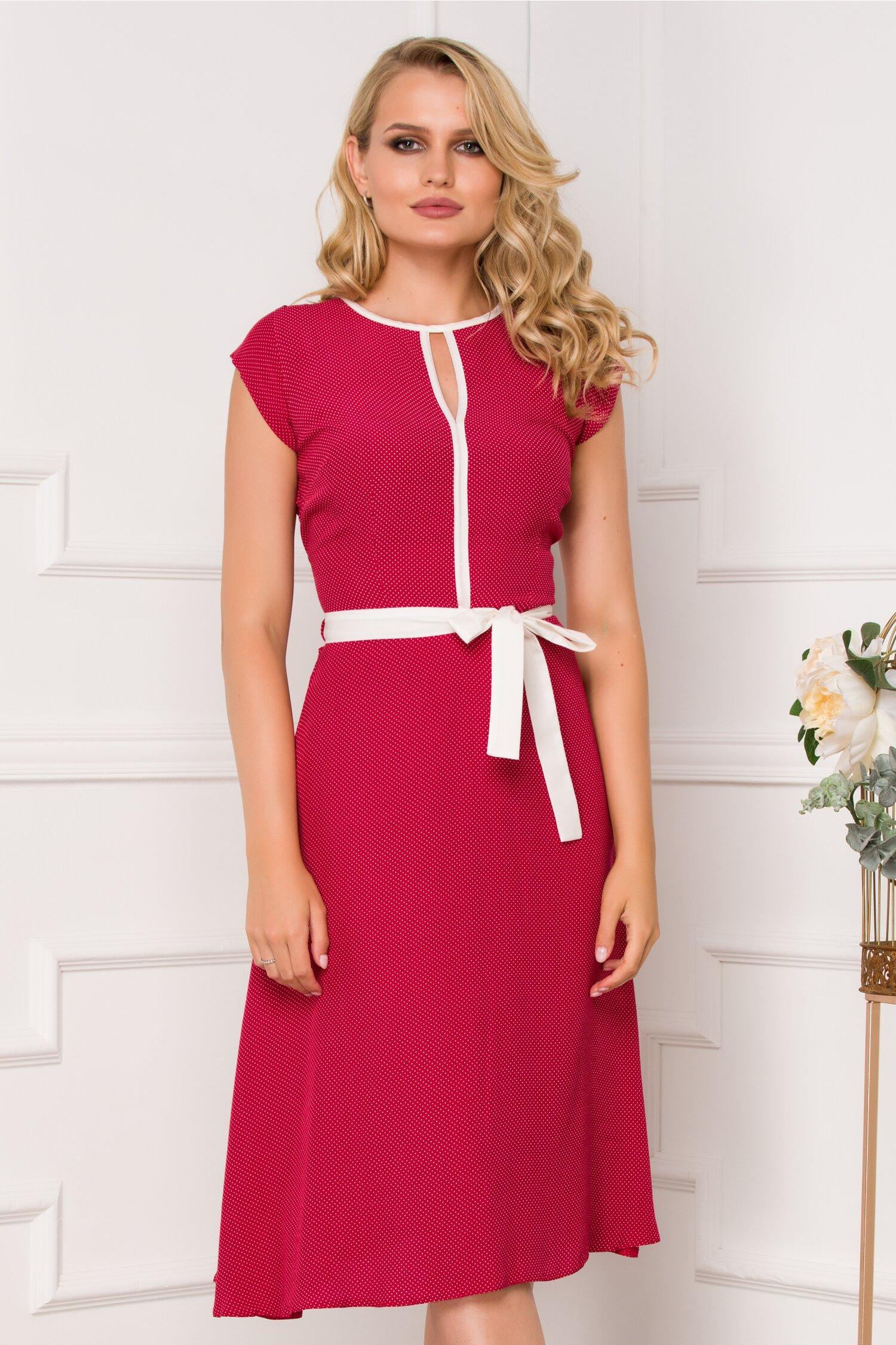 Rochie Nina rosie cu imprimeu cu buline albe mici
