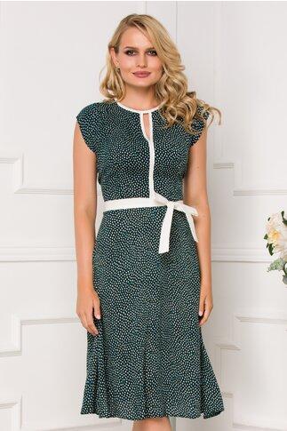 Rochie Nina verde inchis cu imprimeu cu picatele