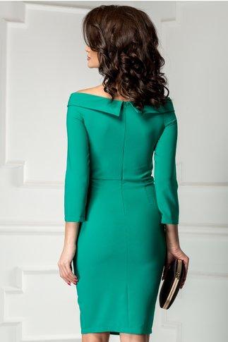 Rochie Noela verde midi de ocazie cu crepeu