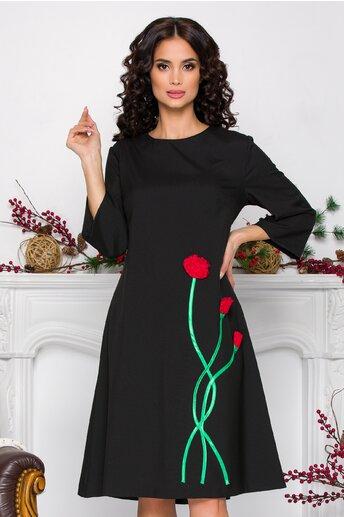 Rochie Nora neagra cu flori 3D pe fusta