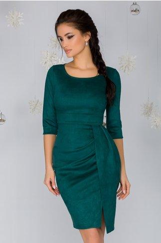Rochie Noreen verde smarald cu aspect de piele intoarsa