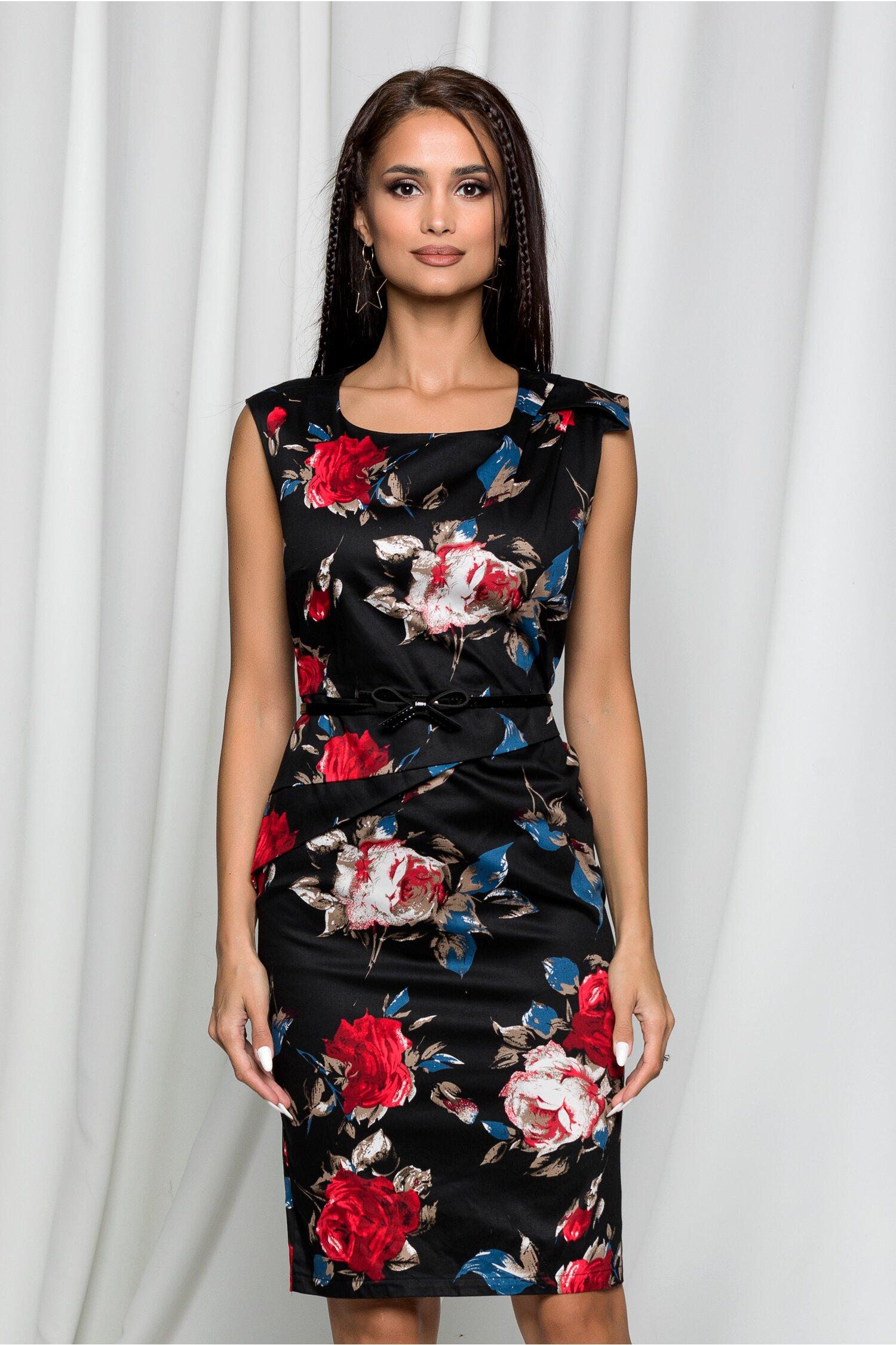 Rochie Norina neagra cu imprimeu floral si crepeu la spate