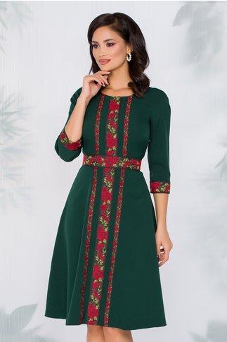 Rochie Numi verde inchis cu benzi decorative cu motive florale