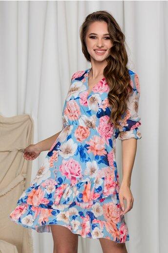 Rochie Oana bleu cu imprimeuri florale si volane pe fusta