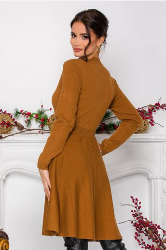 Rochie Oana clos camel din tricot