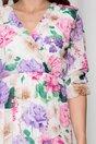 Rochie Oana ivory cu imprimeuri florale si volane pe fusta