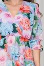 Rochie Oana lila cu imprimeuri florale si volane pe fusta