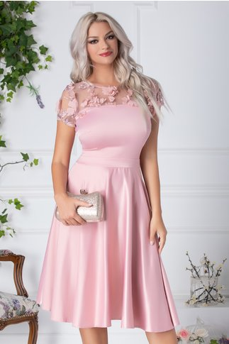 Rochie Oana roz de ocazie cu flori 3D la bust
