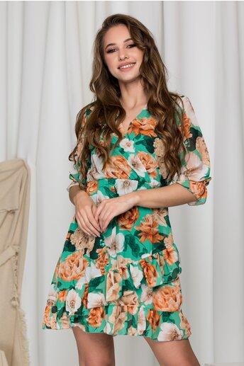 Rochie Oana verde cu imprimeuri florale si volane pe fusta