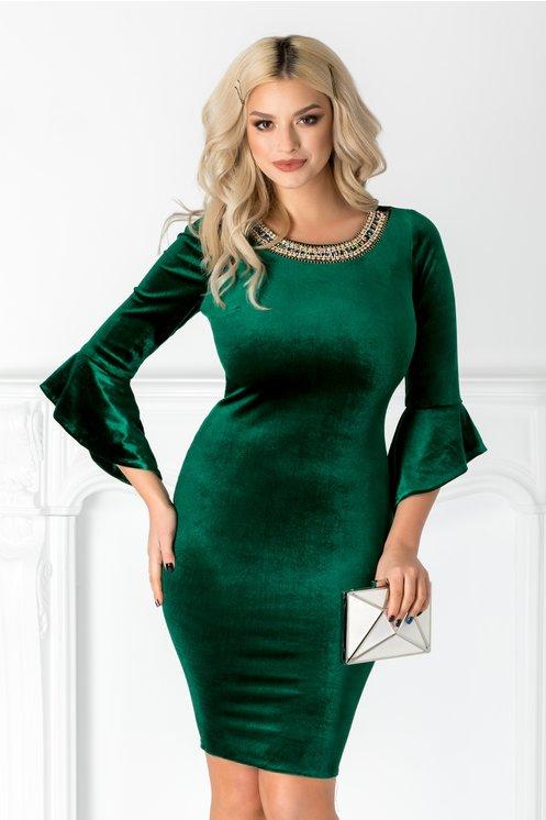 Rochie Oana verde din catifea cu aplicatie la guler