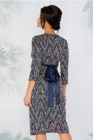 Rochie Ofelia multicolora petrecuta cu cordon in talie