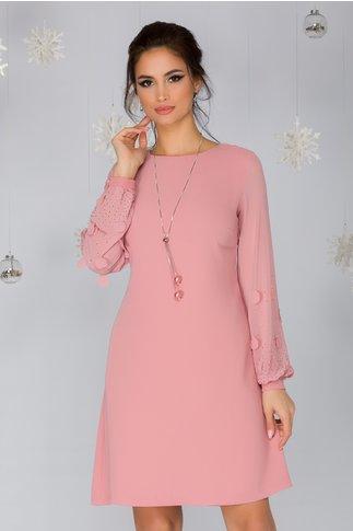 Rochie Ofelia roz cu  petale si strasuri pe maneci