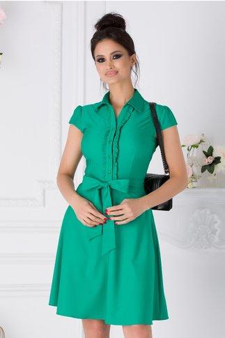 Rochie Ofelia verde cu volane la bust si cordon in talie