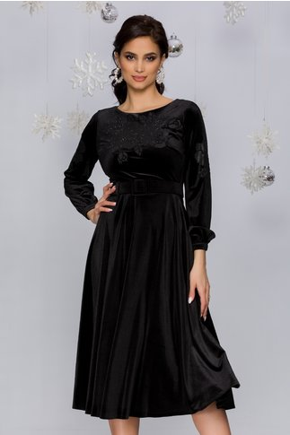 Rochie Olimpia neagra din catifea cu trandafiri si strasuri