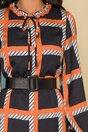 Rochie Olla neagra cu imprimeu orange si volan