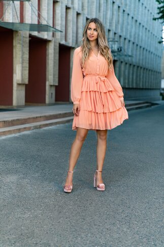 Rochie Olla orange din voal cu volane plisate