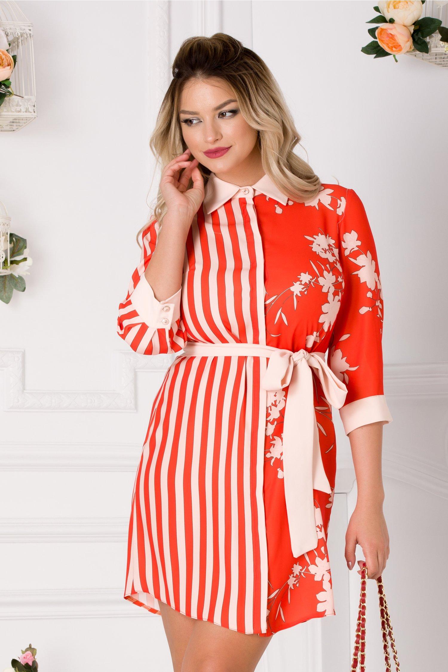 Rochie orange tip camasa cu imprimeu floral si dungi