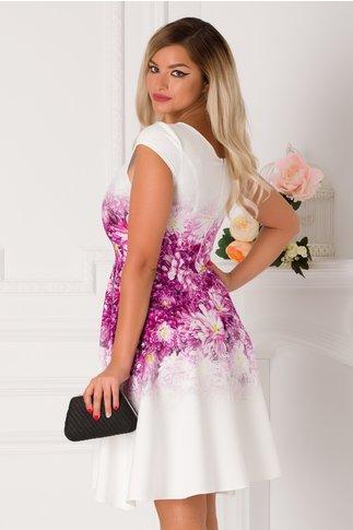 Rochie Oriana alba cu imprimeu floral fucsia in degrade