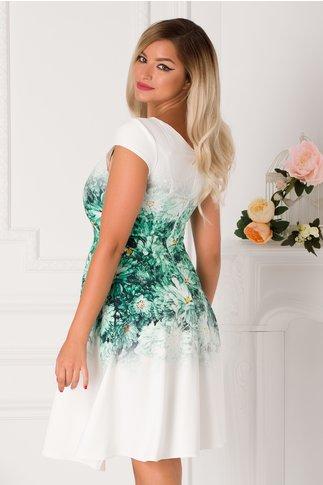 Rochie Oriana alba cu imprimeu floral verde in degrade
