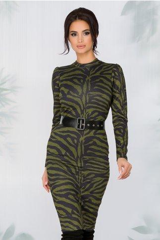 Rochie Oxana cu imprimeu stil zebra in nuante de gri si verde olive