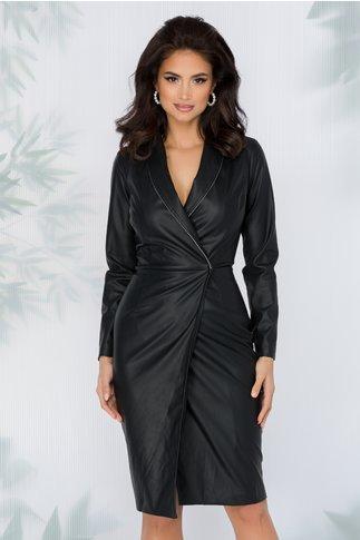Rochie Oxi neagra stil sacou din piele ecologica