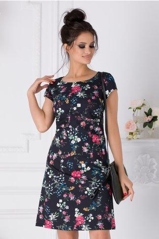 Rochie Ozana neagra cu imprimeu floral colorat