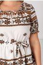 Rochie Pamela alba cu imprimeuri geometrice si cordon in talie
