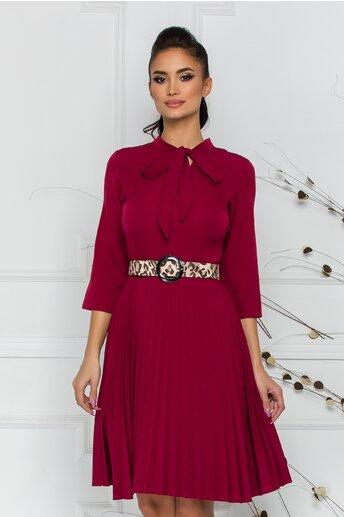 Rochie Pamela bordo cu detaliu tip panglica si fusta plisata