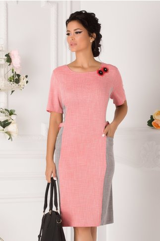 Rochie Pamela office roz cu gri si buzunare