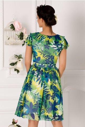 Rochie Pamela verde cu imprimeu floral