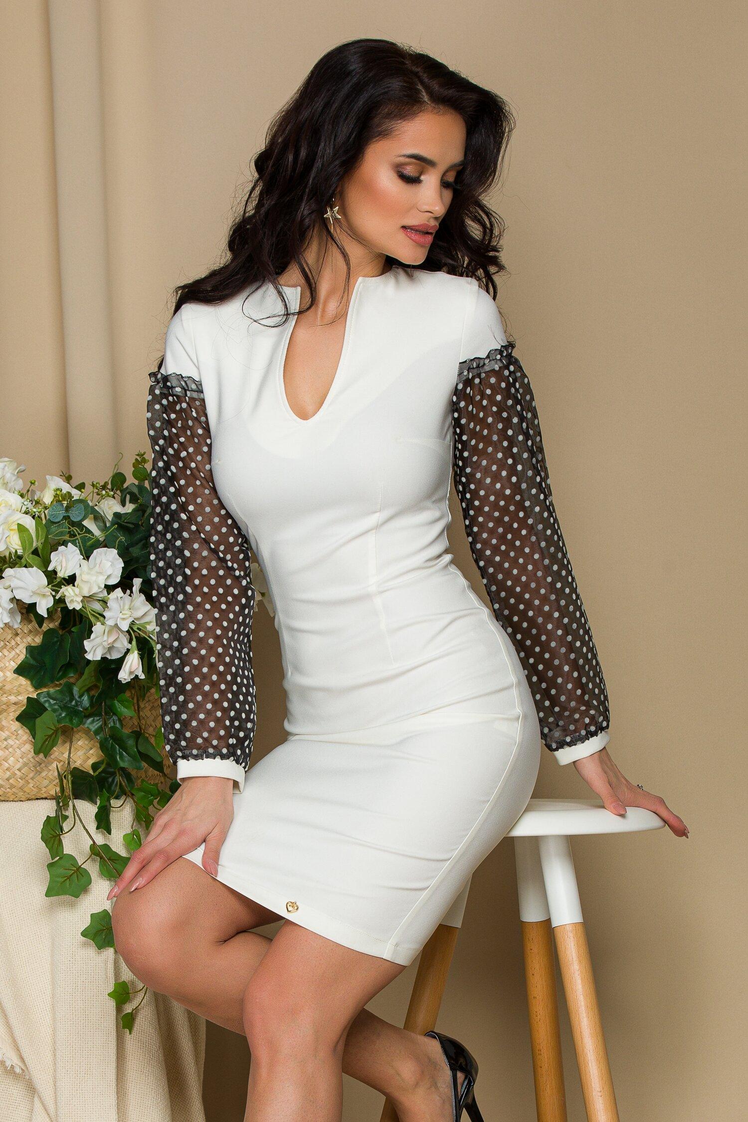rochie pami alba cu maneci din organza cu buline catifelate 641715 4