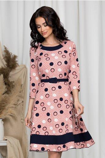Rochie Pami roz clos cu buline bleumarin