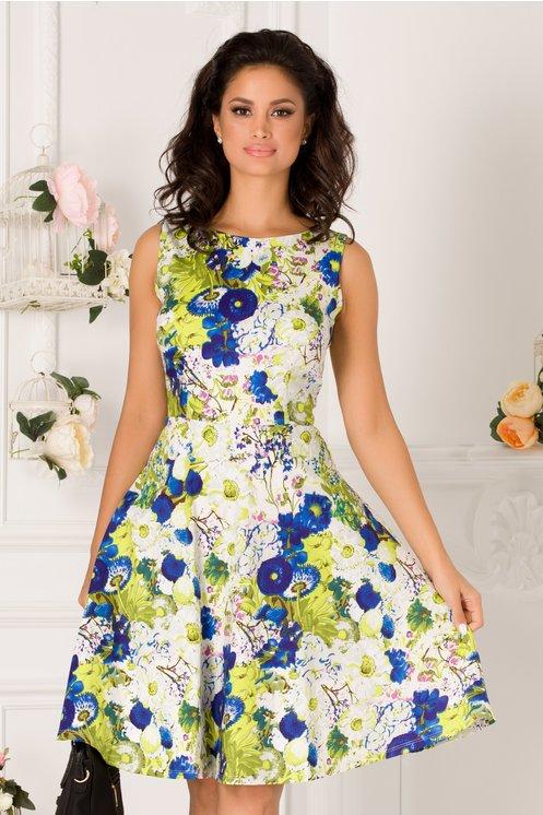 Rochie Pamy alba cu imprimeu floral verde-albastru
