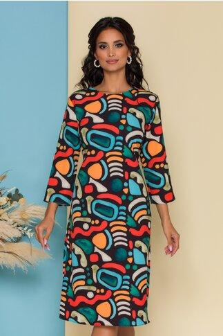 Rochie Pamy neagra cu imprimeuri colorate