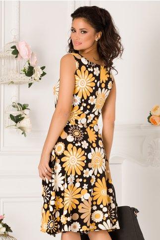Rochie Pamy neagra cu imprimeuri florale galbene