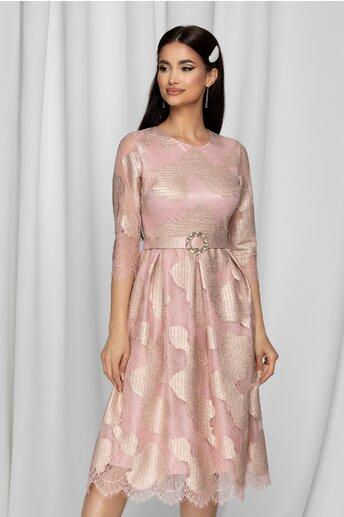 Rochie Pamy roz cu lurex stralucitor si curea in talie
