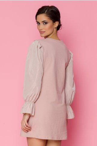 Rochie Pamy roz pudrat cu perlute