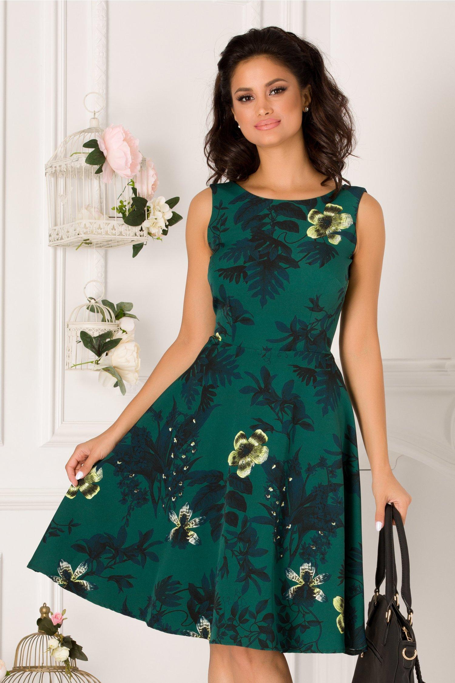 Rochie Pamy verde inchis cu imprimeuri florale