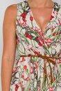 Rochie Patrice bej cu imprimeuri florale rosii