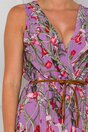 Rochie Patrice lila cu imprimeuri florale rosii