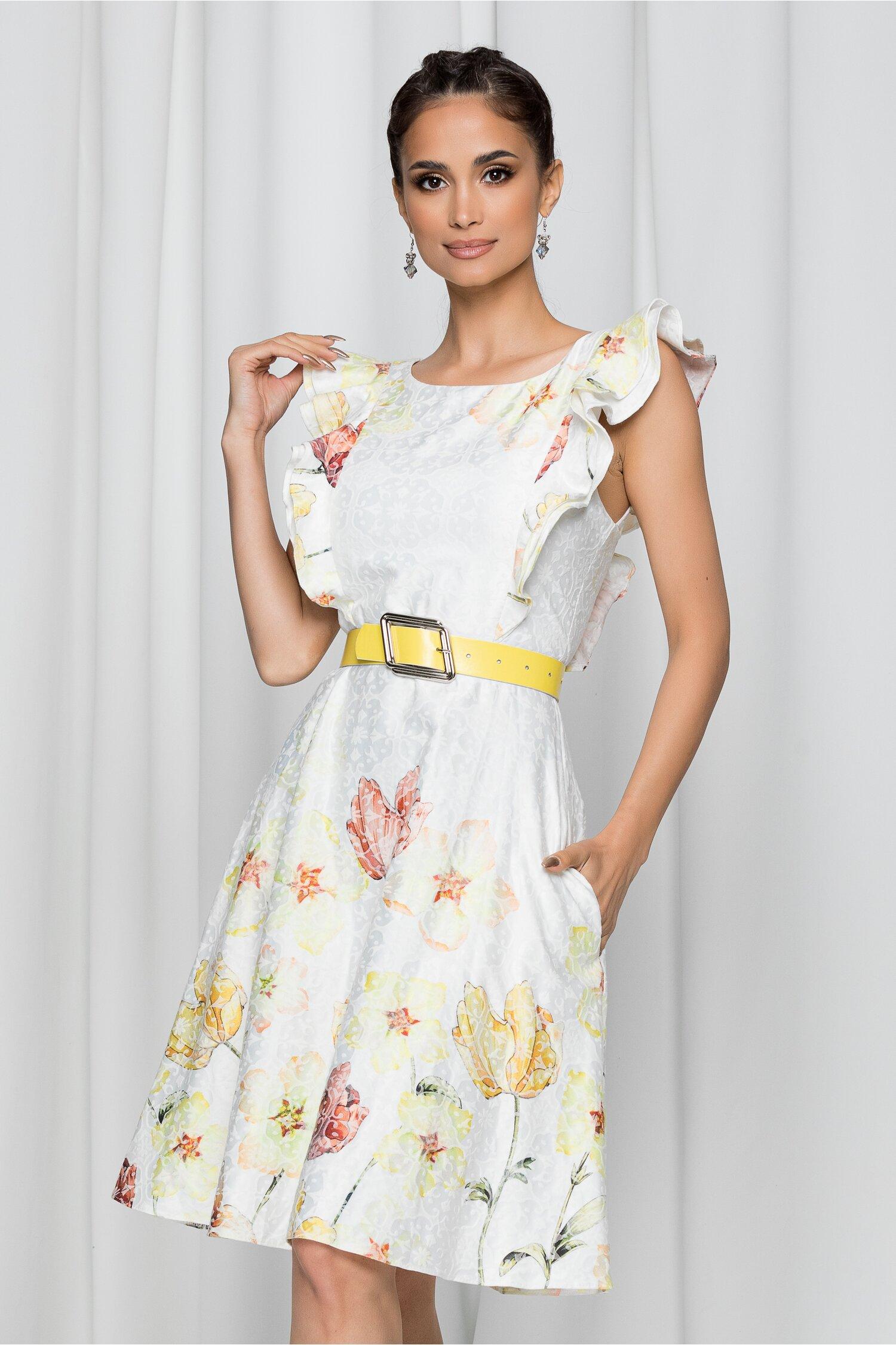 Rochie Patricia alba cu imprimeu floral galben si curea in talie
